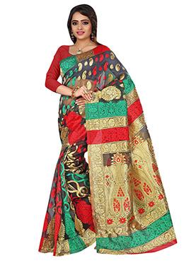 Multicolored Benarasi Jacquard Pattern Saree