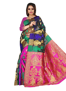 Multicolored Benarasi Jacquard Saree