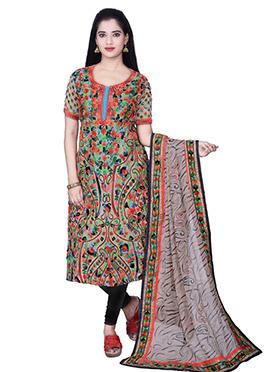 Multicolored Chanderi Cotton Churidar Suit