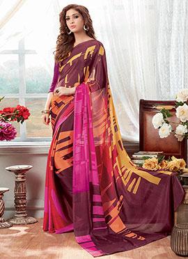 Multicolored Chiffon Saree