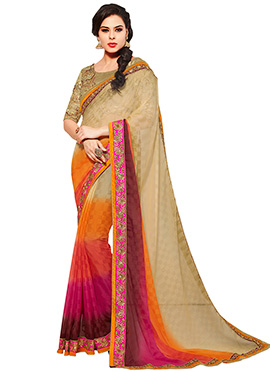 Multicolored Chiffon Saree