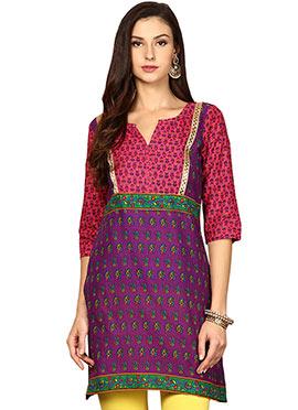 Multicolored Cotton Ethnic Kurti from Home India