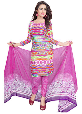 Multicolored Crepe Churidar Suit