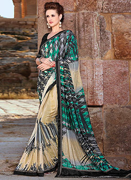 Multicolored Crepe Half N Half Saree