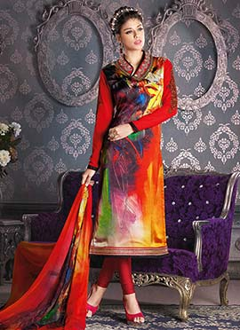 Multicolored Crepe Printed Churidar Suit