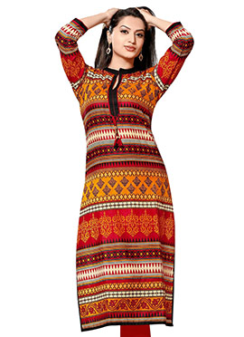 Multicolored Crepe Printed Kurti