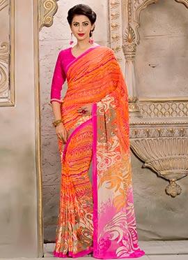 Multicolored Crepe Silk Printed Saree