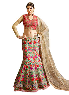 Multicolored Fish Cut Lehenga Choli