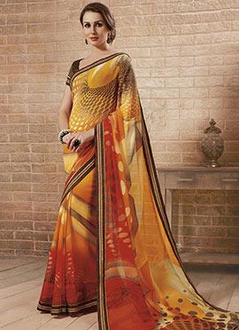Multicolored Georgette Printed Saree