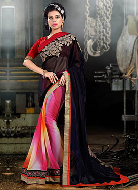 Multicolored Half N Half Saree