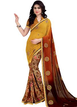Multicolored Half N Half Saree