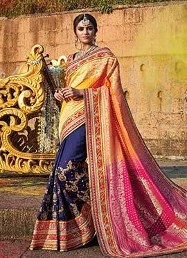 Multicolored Heavy Work Half N Half Saree