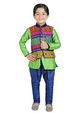 Multicolored Jacket Style Kurta Pyjama