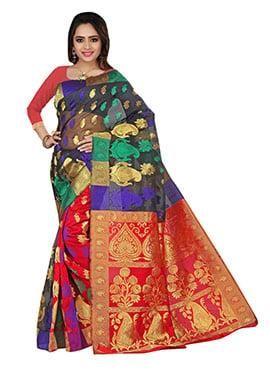Multicolored Jacquard Patterned Saree