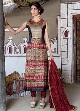 Multicolored Khadi Silk Straight Suit