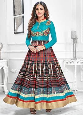 Multicolored Krystle Dsouza Ankle Length Anarkali Suit