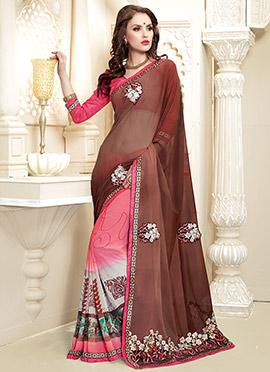 Multicolored N Deep Brown Half N Half Saree