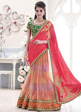 Multicolored Net Lehanga Saree