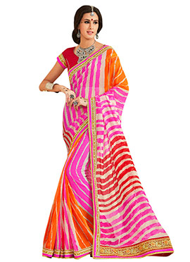 Multicolored Ombre Leheriya Pattern Saree