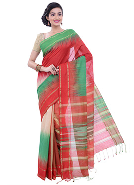 Multicolored Ombre Pattern Art Silk Border Saree