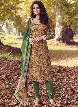 Multicolored Printed Floral Straight Suit