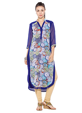 Multicolored Printed Georgette Straight Suit