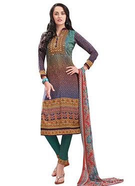 Multicolored Printed Straight Pant Suit