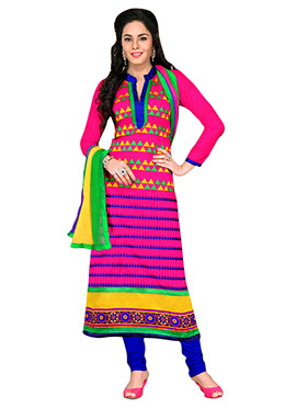 Multicolored Printed Straight Suit