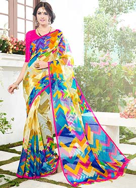 Multicolored Printed Supernet Saree