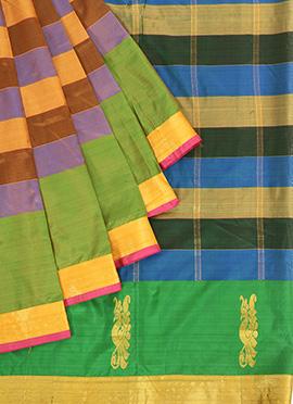 Multicolored Pure Silk Pothys Saree