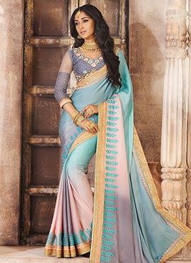 Multicolored Satin Saree