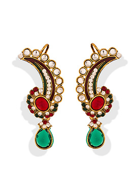 Multicolored Stone Studded Ear Cuff Earrings