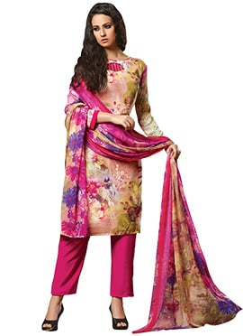 Multicolored Straight Pant Suit