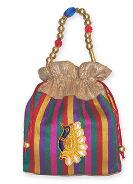 Multicolored Striped Brocade Potli Bag