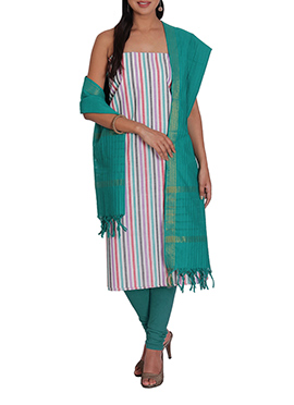 Multicolored Striped Cotton Churidar Suit