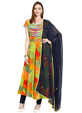 Multicolored Viscose Anarkali Suit