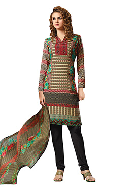 Multihued Printed Churidar Suit