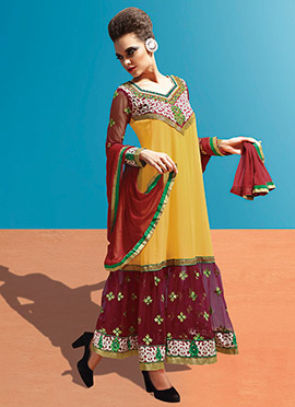 Mustard Embroidered Anarkali Suit
