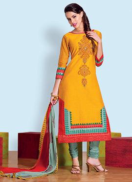Mustard Mangalgiri Silk Churidar Suit