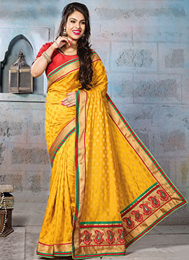 Mustard Yellow Art Silk Jacquard Designed Saree