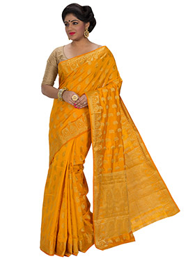 Mustard Yellow Art Silk Zari Weaved Saree