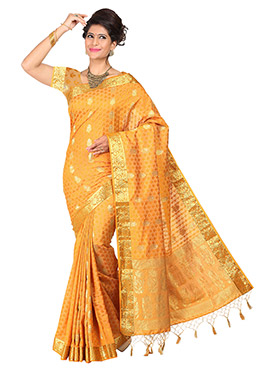 Mustard Yellow Art Tussar Silk Saree