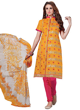Mustard Yellow Chanderi Cotton Churidar Suit