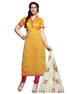 Mustard Yellow Churidhar Suit