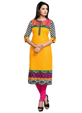 Mustard Yellow Cotton Kurti