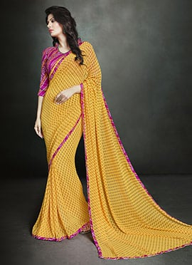 Mustard Yellow Georgette Printed Saree