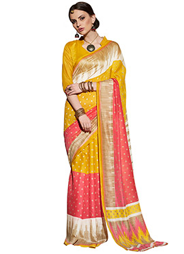 Mustard Yellow N Coral Red Silk Printed Saree