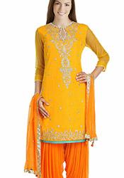 Mustard Yellow Net Patiala Suit