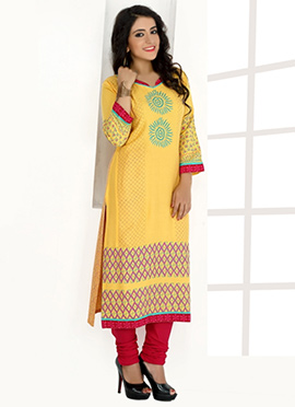 Mustard Yellow Rayon Cotton Kurti