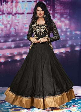 Mystical Sayali Bhagat Black Net Floor Length Anar